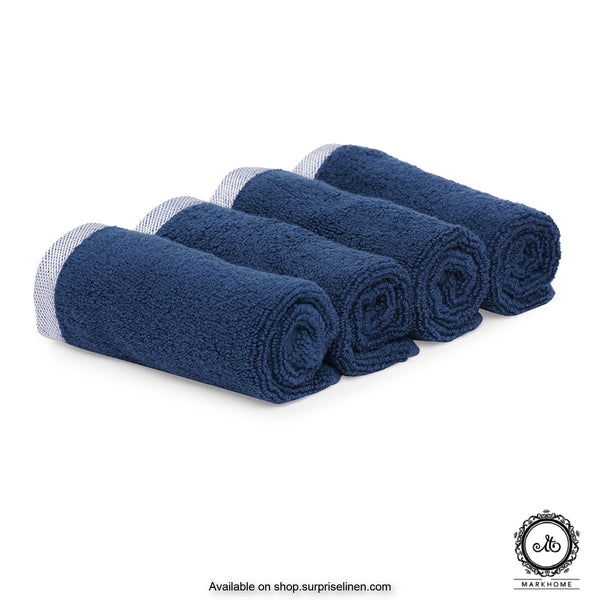 Mark Home - 100% Cotton 500 GSM Zero Twist Anti Microbial Treated Simply Soft Face Towel Set of 04 Pcs (Navy)