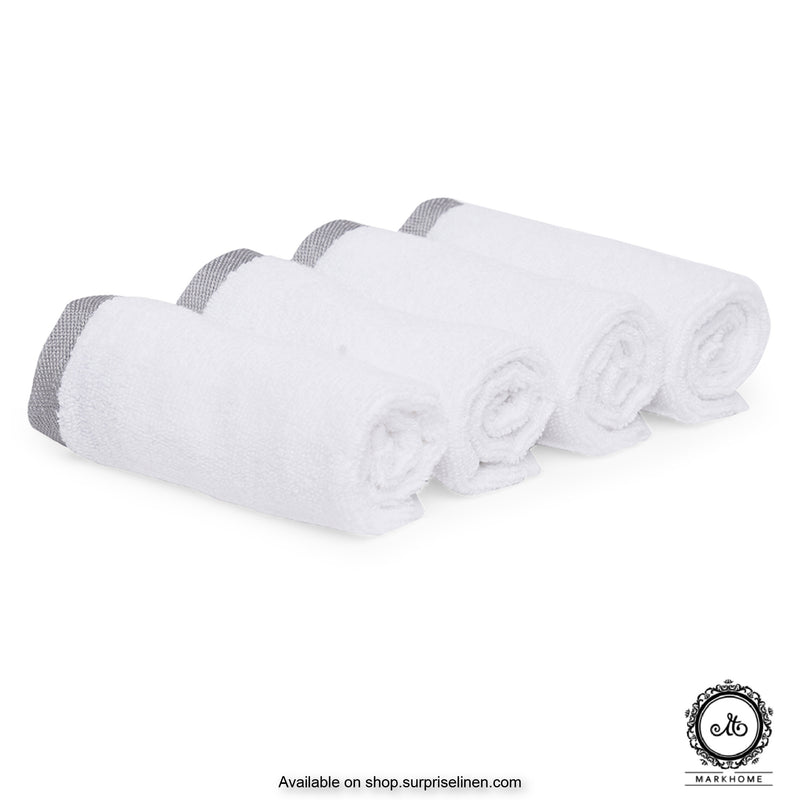 Mark Home - 100% Cotton 500 GSM Zero Twist Anti Microbial Treated Simply Soft Face Towel Set of 04 Pcs (White)