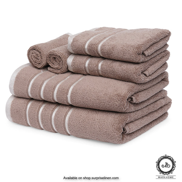 Mark Home - 100% Cotton 500 GSM Zero Twist Anti Microbial Treated Simply Soft Gift Set of 06 Pcs (Beige)