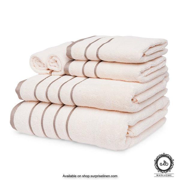Mark Home - 100% Cotton 500 GSM Zero Twist Anti Microbial Treated Simply Soft Gift Set of 06 Pcs (Ivory)