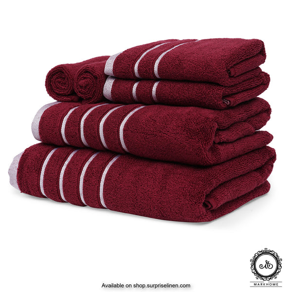 Mark Home - 100% Cotton 500 GSM Zero Twist Anti Microbial Treated Simply Soft Gift Set of 06 Pcs (Maroon)