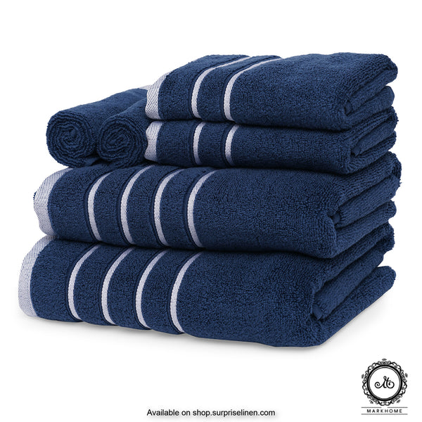 Mark Home - 100% Cotton 500 GSM Zero Twist Anti Microbial Treated Simply Soft Gift Set of 06 Pcs (Navy)