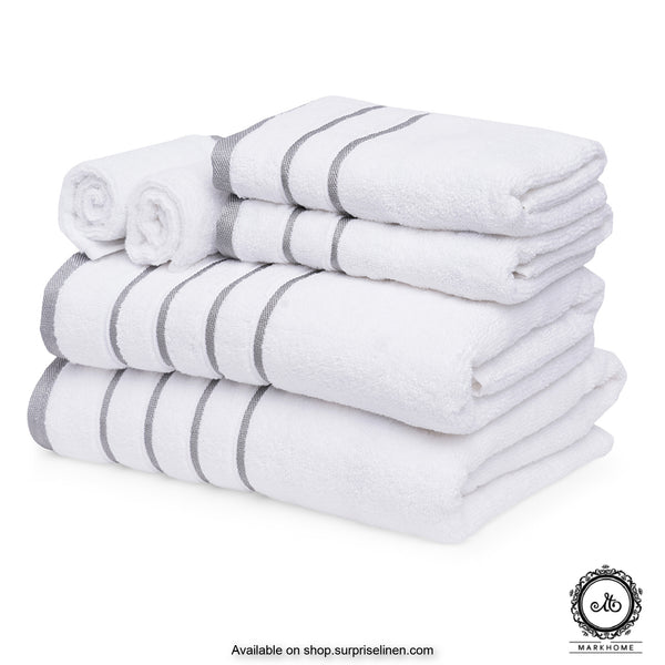Mark Home - 100% Cotton 500 GSM Zero Twist Anti Microbial Treated Simply Soft Gift Set of 06 Pcs (White)