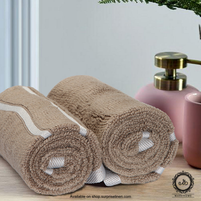 Mark Home - 100% Cotton 500 GSM Zero Twist Anti Microbial Treated Simply Soft Hand Towel (Beige)