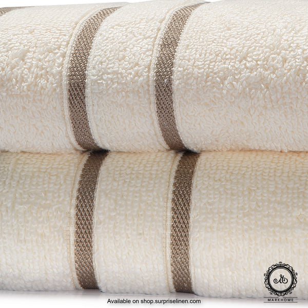 Mark Home - 100% Cotton 500 GSM Zero Twist Anti Microbial Treated Simply Soft Hand Towel (Ivory)