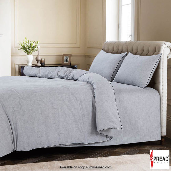 Spread Home - Grain De Glace 400 Thread Count Duvet Cover (Silver)