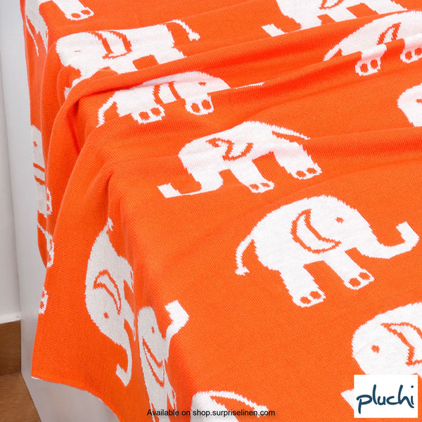 Pluchi - Elephant Cotton Knitted Kids AC Blanket (Paparika Orange)