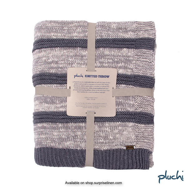Pluchi - 100% Cotton Knitted AC Blanket Cum Throw (Natural Grey)