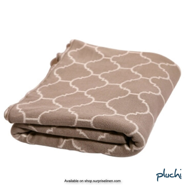 Pluchi - 100% Cotton Knitted AC Blanket Cum Throw (Beige)