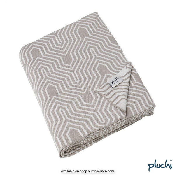 Pluchi - 100% Cotton Knitted AC Blanket Cum Throw (Stencil Beige)