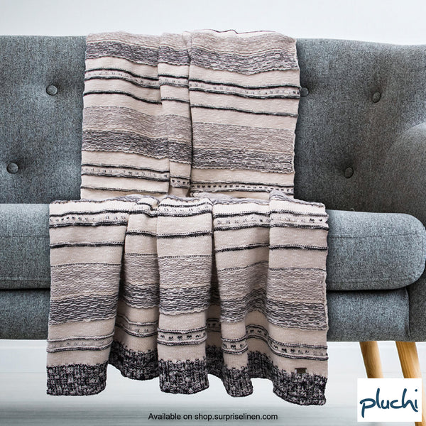 Pluchi - 100% Cotton Knitted AC Blanket Cum Throw (Natural / Black)