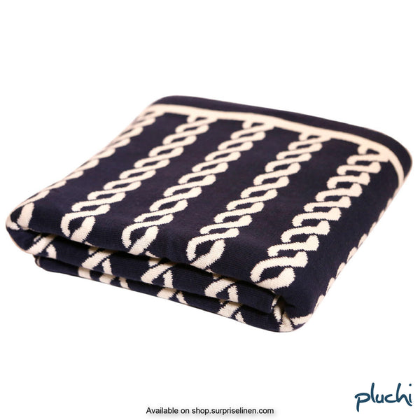 Pluchi - 100% Cotton Knitted AC Blanket Cum Throw (Navy Blue)