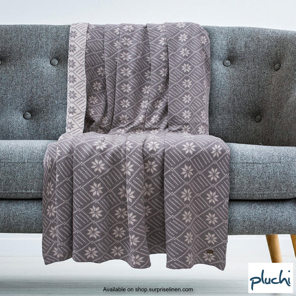 Pluchi - 100% Cotton Knitted AC Blanket Cum Throw (Floral Grey)