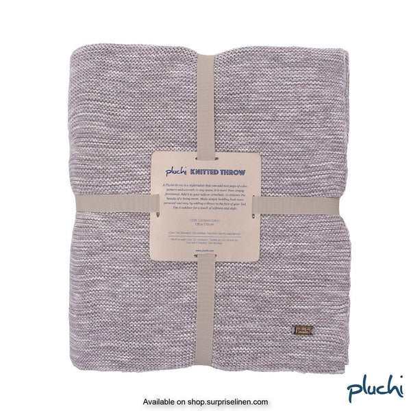Pluchi - 100% Cotton Knitted AC Blanket Cum Throw (Grey)