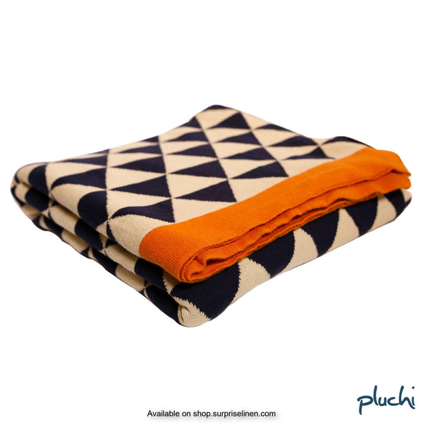 Pluchi - 100% Cotton Knitted AC Blanket Cum Throw (Navy & Orange)
