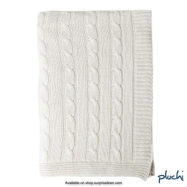 Pluchi - 100% Cotton Knitted AC Blanket Cum Throw (White)
