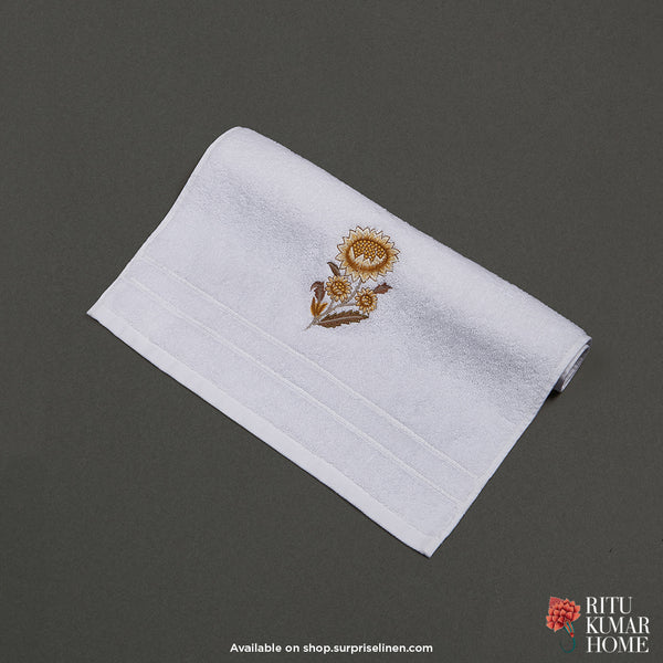Ritu Kumar Home - Off White Hand Towel (Yellow)