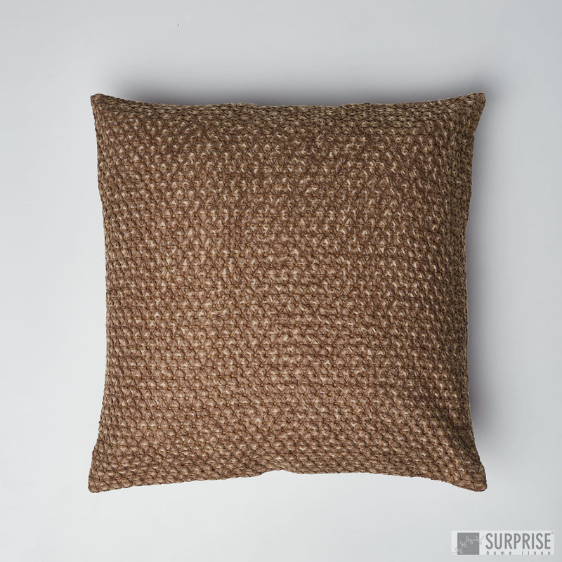 Surprise Home - Embroidered Stonewash Cushion Covers (Telephone Brown)