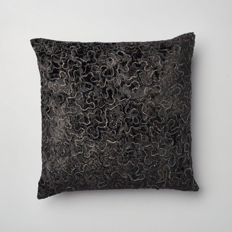 Surprise Home - Beaded Brasso Cushion Covers (Charcoal)