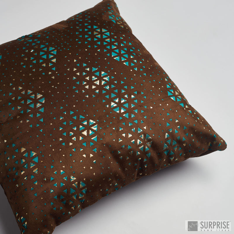 Surprise Home - Suede Cutwork Cushion Covers (Blue/Brown)