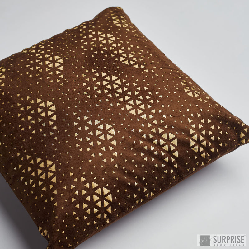 Surprise Home - Suede Cutwork Cushion Covers (Gold/Brown)