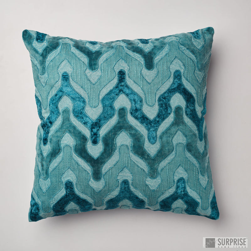 Surprise Home - Velvet Wave Cushion Covers (Aqua)