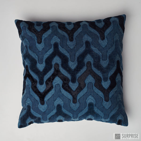 Surprise Home - Velvet Wave Cushion Covers (Indigo)