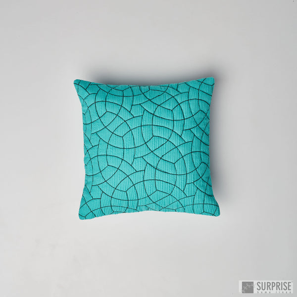 Surprise Home - Circle Trellis 30 x 30 cms Cushion Covers (Turquoise)