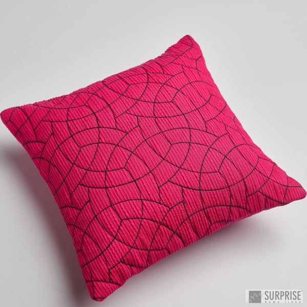 Surprise Home - Circle Trellis 30 x 30 cms Cushion Covers (Hot Pink)