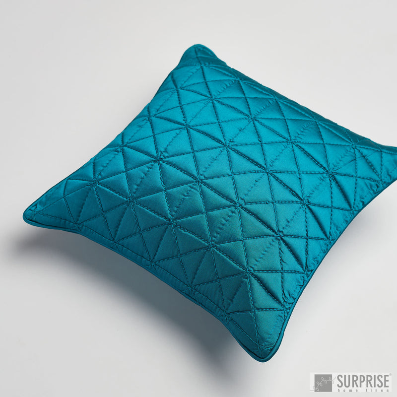 Surprise Home - Grid 30 x 30 cms Cushion Covers (Peacock Blue)