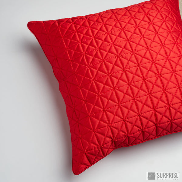 Surprise Home - Grid 60 x 60 cms Cushion Covers (Red)