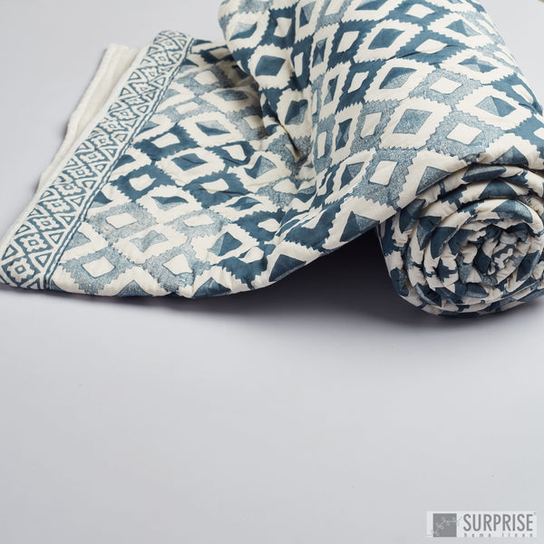 Surprise Home - Modern Block Print Quilt (Indigo)