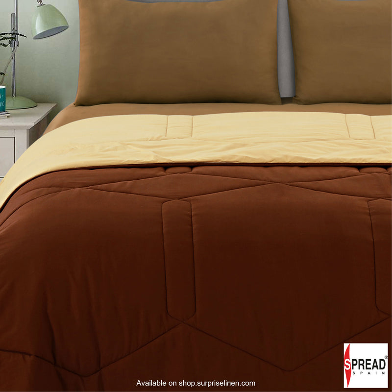 Spread Home - Vibgyor Soft and Light Weight Microfiber Reversible AC Quilt/Comforter (Brown/Cream)