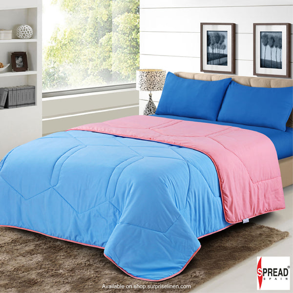 Spread Home - Vibgyor Soft and Light Weight Microfiber Reversible AC Quilt/Comforter (Pink/Light Blue)