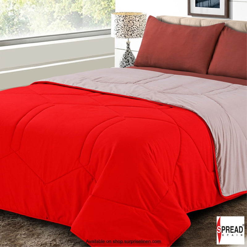 Spread Home - Vibgyor Soft and Light Weight Microfiber Reversible AC Quilt/Comforter (Red)