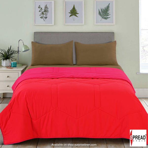Spread Home - Vibgyor Soft and Light Weight Microfiber Reversible AC Quilt/Comforter (Coral)
