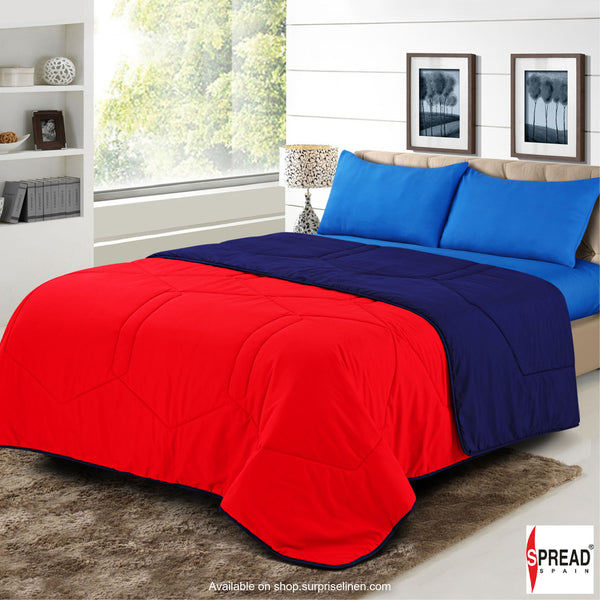 Spread Home - Vibgyor Soft and Light Weight Microfiber Reversible AC Quilt/Comforter (Red / Navy Blue)
