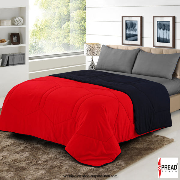 Spread Home - Vibgyor Soft and Light Weight Microfiber Reversible AC Quilt/Comforter (Red/Black)