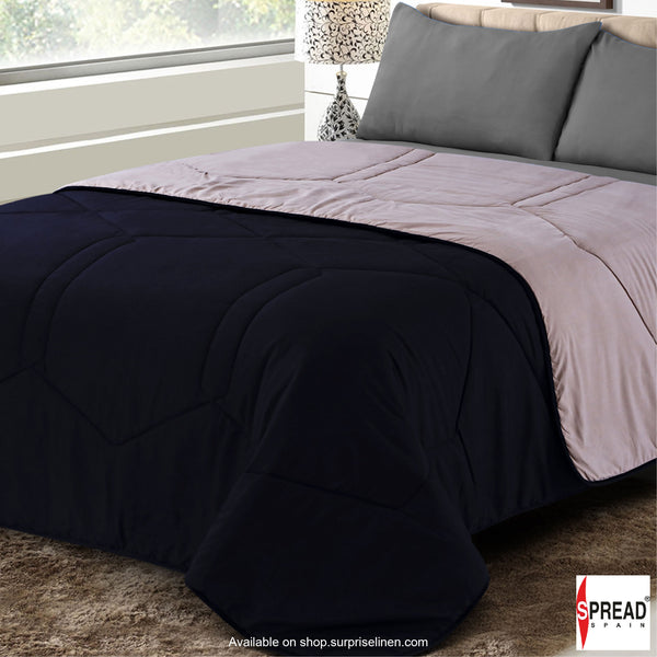 Spread Home - Vibgyor Soft and Light Weight Microfiber Reversible AC Quilt/Comforter (Black/Grey)