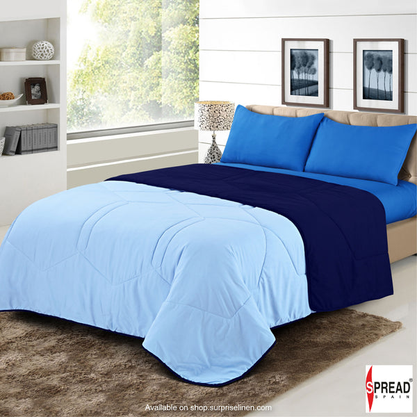 Spread Home - Vibgyor Soft and Light Weight Microfiber Reversible AC Quilt/Comforter (Navy Blue)