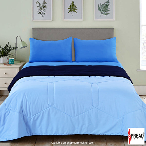 Spread Home - Vibgyor Soft and Light Weight Microfiber Reversible ACQuilt/Comforter (Skyblue/Navy Blue)