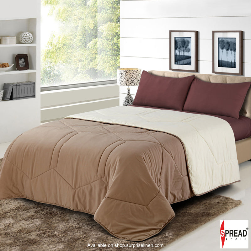 Spread Home - Vibgyor Soft and Light Weight Microfiber Reversible AC Quilt/Comforter (Beige/Cream)