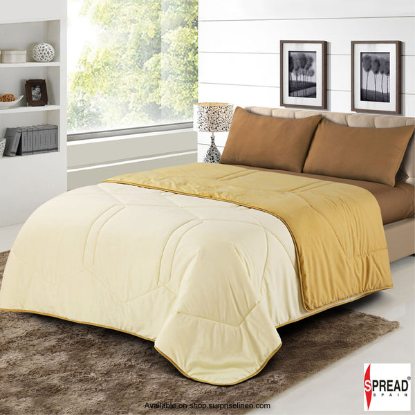 Spread Home - Vibgyor Soft and Light Weight Microfiber Reversible AC Quilt/Comforter (Cream/Gold)