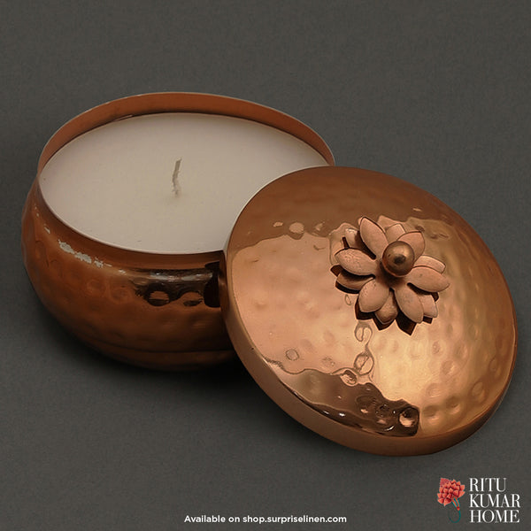 Ritu Kumar Home - Jasmine Tea Metal Votive 11 x 5.5 cms (Copper)