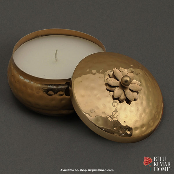 Ritu Kumar Home - Mogra Metal Votive (Golden)