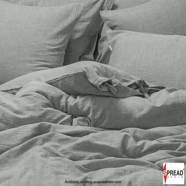 Spread Home - Japanese Washed Cotton Collection 100% Cotton Duvet Cover (Light Grey)