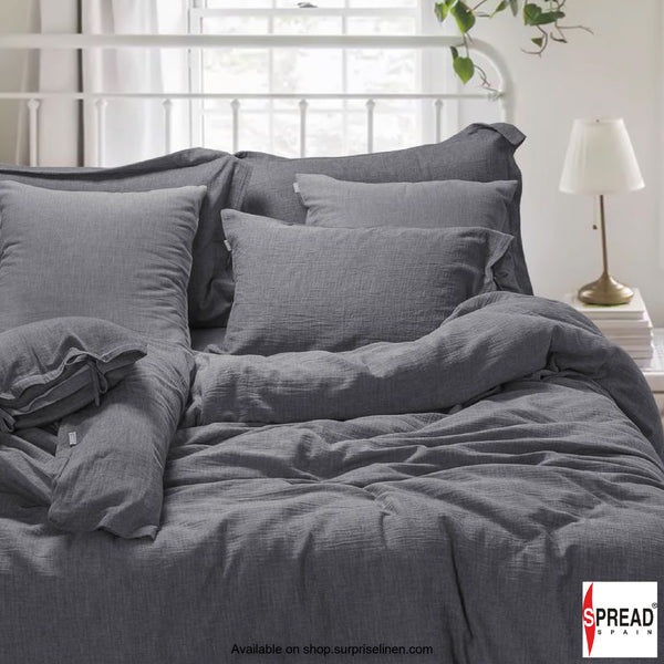 Spread Home - Japanese Washed Cotton Collection 100% Cotton Duvet Cover (Grey)