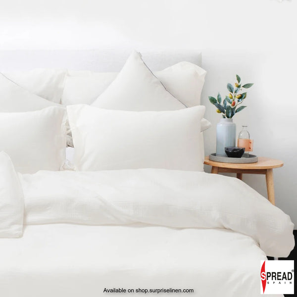 Spread Home - Japanese Washed Cotton Collection 100% Cotton Duvet Cover (White)