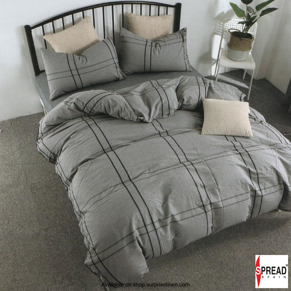 Spread Home - Japanese Washed Cotton Collection 100% Cotton Duvet Cover (Grey Checks)