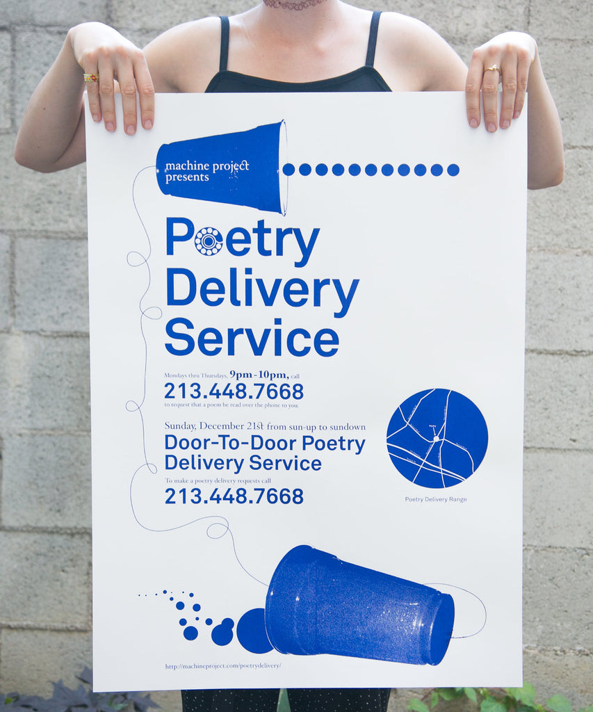 Poetry Delivery Service Poster - White & cobalt blue